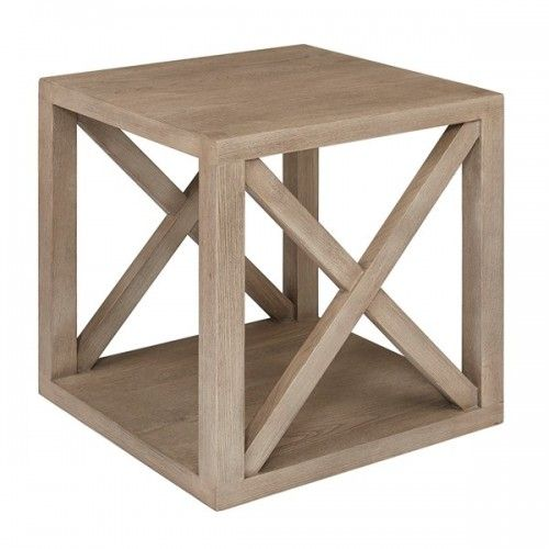 Farmhouse Style Washed Grey Wood Finish Cube X Frame End Table Coffee Table Wood Side Table Wood Table