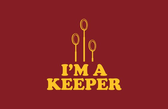 BustedTees I'm A Keeper shirt in Gryfindor colors.
