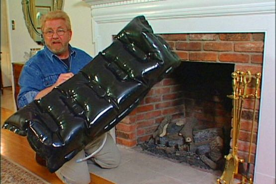 Inflatable Plug Keeps Heat From Escaping Out Fireplace Chimney
