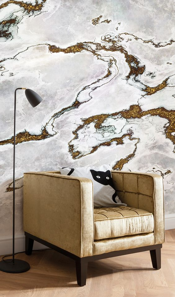Marble effect wall mural with flecks of gold