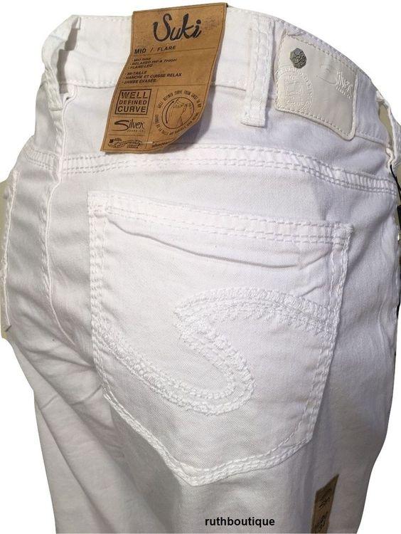 Silver Jeans Denim Plus Size 20 Suki Flare Plus W93801SSWWHT NWT ...