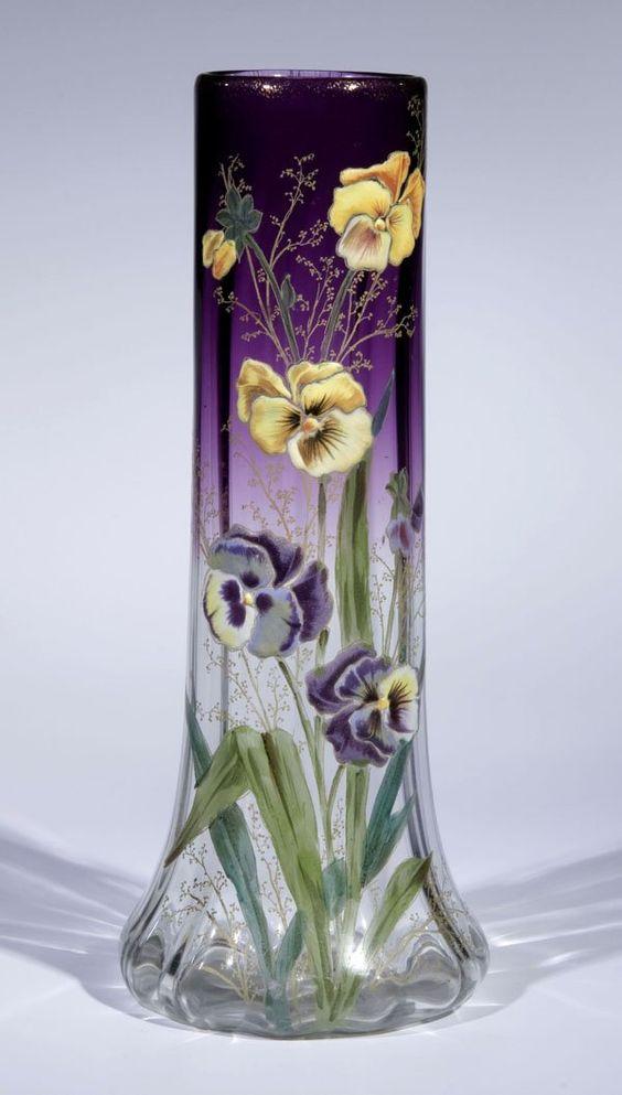 Vase Moser Karlsbad Glass Art Deco Nouveau Viola: