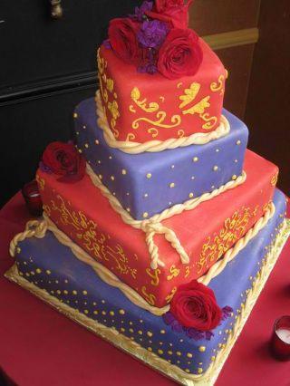 bright wedding cake by coleyscakes.com
