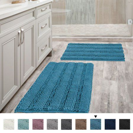 Bathroom Rugs Slip Resistant Extra Absorbent Soft And Fluffy Thick Striped Bath Mat Non Slip Microfiber Shag Floor Mat Dry Fast Waterproof Bath Mat Set Of 2 20 In 2020 Blue Bathroom Rugs