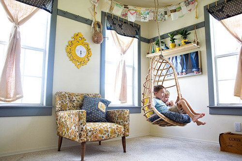 Love the hanging chair! 4 Smart Ways to Organize Kid Spaces for School Work http://thestir.cafemom.com/home_garden/107709/Homework_Help_4_Smart_Ways?utm_medium=sm&utm_source=pinterest&utm_content=thestir