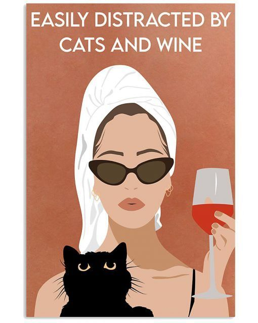Cats And Wine Poster Print Vintage Cat Animals Funny Wall Art Decor