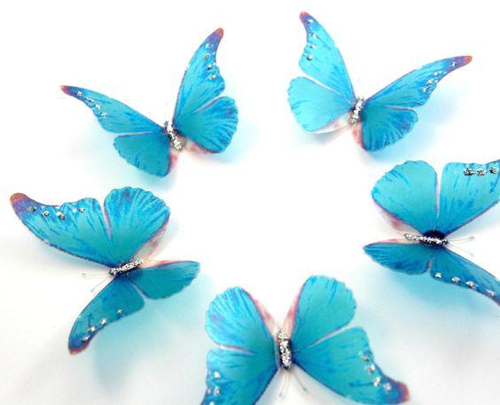 5 Sky Blue Stick on Butterflies, Wedding Cake Toppers, Butterfly Cake Decorations, 3D Wall Art - http://wedding-cake-topper.com/5-sky-blue-stick-on-butterflies-wedding-cake-toppers-butterfly-cake-decorations-3d-wall-art/