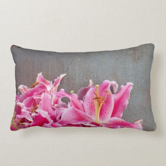 Pink Lily Flowers On Rustic Background Lumbar Pillow Zazzle Com Rustic Background Lily Flower Pink Lily