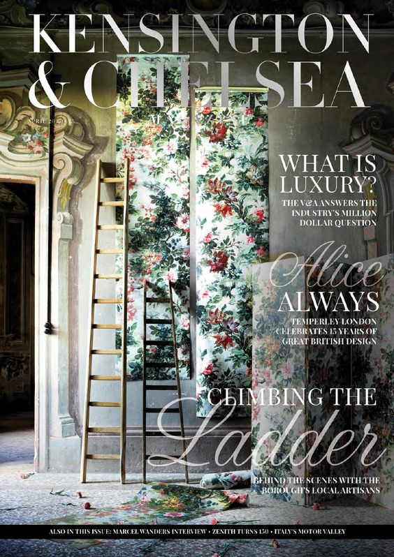 The Kensington & Chelsea Magazine April 2015  The Kensington & Chelsea Magazine showcases news concerning local residents and events happening in and around the Royal Borough, as well as intelligent and sophisticated features on property, places, products and services of relevance to its audience. Interviews with prominent people from different luxury industries in the local area also feature monthly.