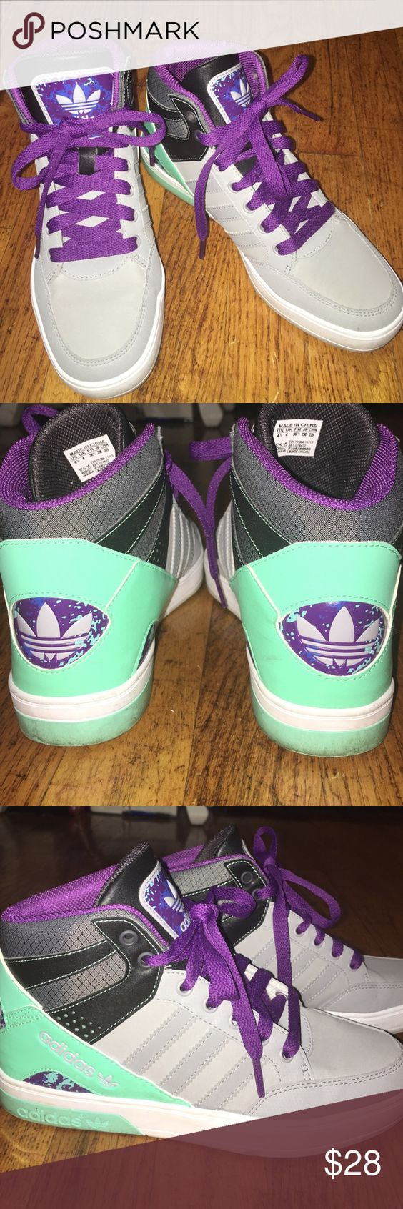 Adidas high tops Grey, purple, Aqua, and black colored high tops. In good condition. Size 4.5 kids*** fits a woman's size 6! Adidas Shoes Sneakers