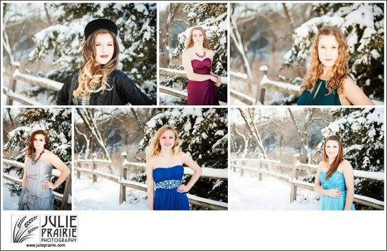 Senior Portraits Sioux Falls High school Girls style Formal Dresses in the Snow! Winter beauty!