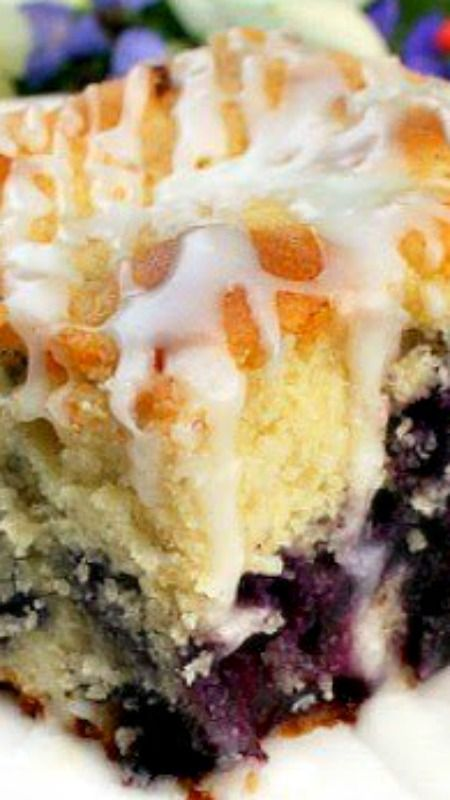 Melt In Your Mouth Blueberry Cake with Lemon Glaze Recipe