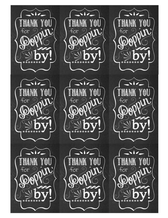 Thank You for Poppin' In Favor Tags Shower Tags by ShesMyTuesday