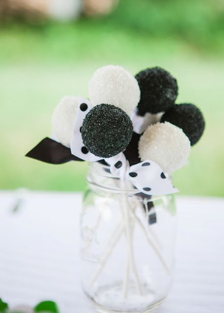 Black & White Cake Pops covered in sanding sugar for a Soccer Party by Snickety Snacks