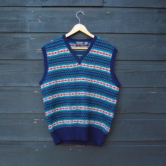Vintage Sweater Vest, Brooks Brothers Wool Vest, Fair Isle Sweater Vest, Mens Womens Med Large, Business - Golf, Hand Knitted Navy Vest by SurfandtheCity