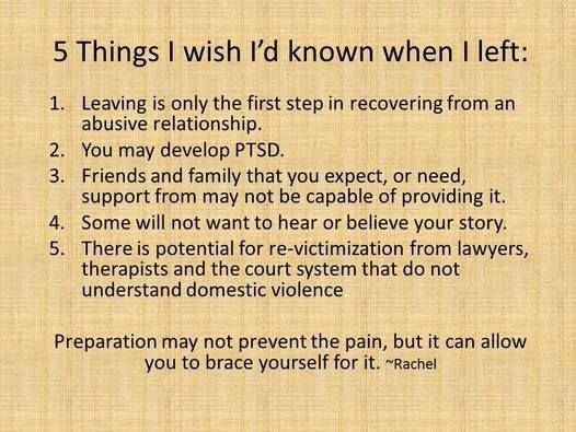 Good information to note about recovery from an abusive relationship!: