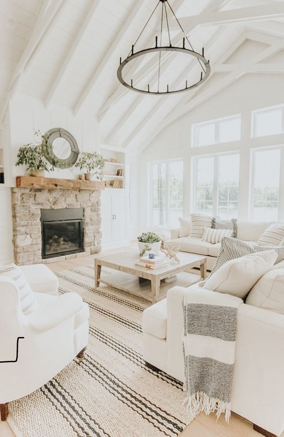 Modern Farmhouse Living Room - White Painted Beams - Home Decor - Interior Design - White couches living room
