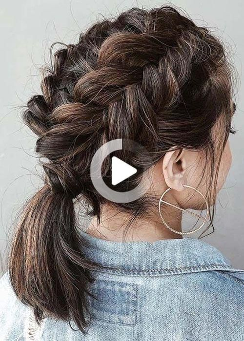 Freanch Braid In 2020 Braids For Short Hair Braided Prom Hair Hair Styles
