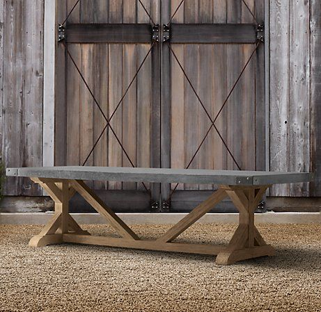 Concrete dining table dining tables and restoration for Restoration hardware teak outdoor furniture