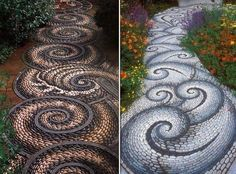 Here are two lovely examples of garden paths (mosaic of course). Would you like one in your garden?  on The Owner-Builder Network  http://theownerbuildernetwork.co/wp-content/blogs.dir/1/files/garden-paths/inserti-1.jpg