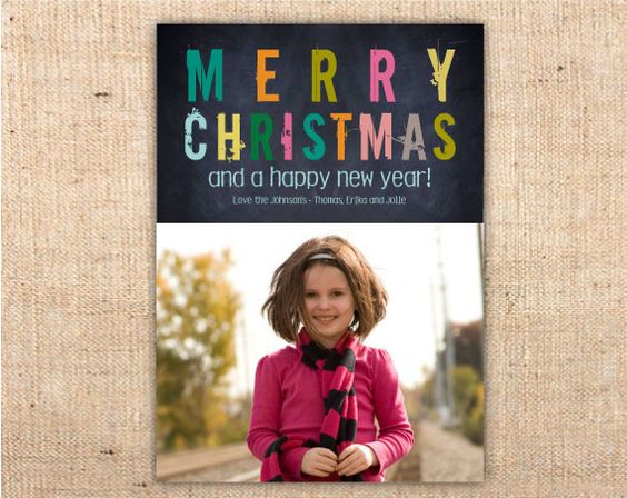 Colorful Grunge Chalkboard Christmas Photo Holiday Cards / Printed or – Ianandlola