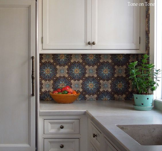 Tone on Tone: Moroccan tiles and concrete countertops: Backsplash Tile, Inspired Tile, Decorating Ideas, Kitchen Design, Tile Backsplash, Mosaic Tiles, Moroccan Tiles, Concrete Countertops