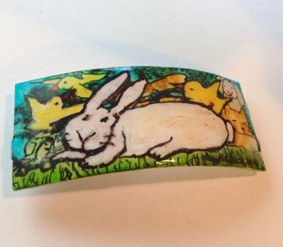 Bunny Barrette  Doodle Art by doodleslice on Etsy, $29.50