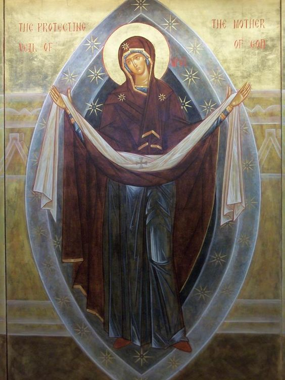 Overshadowed by thy coming, O Mother of God,/ we the right faithful people, celebrate today with splendor,/ and gazing at thine all-precious image,/ we say with compunction:/ Cover us with thy precious omophorion,/ and deliver us from all evil,// entreating thy Son, Christ our God, that He save our souls.
