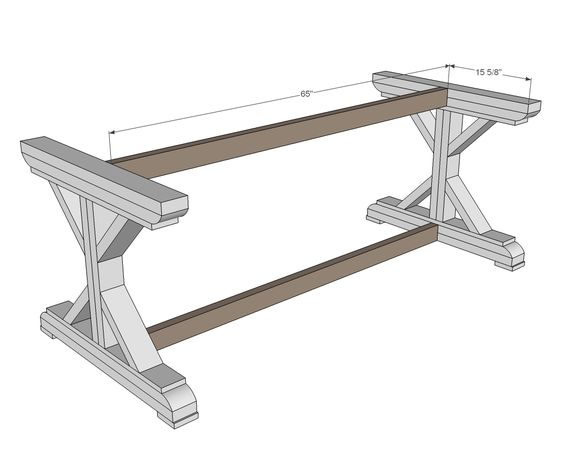 Auction furniture and ana white on pinterest for Post trestle farm table plans