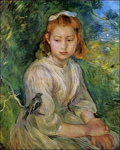 Pierre-Auguste RENOIR - La jeunne fille à l'oiseau