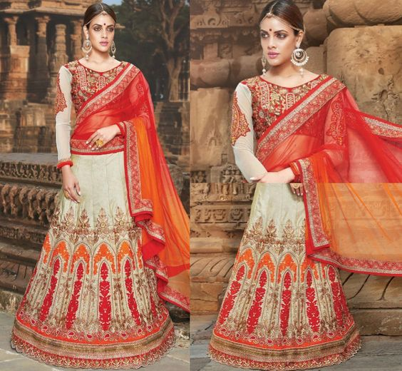 Elegant cream and red bridal lehenga :) Call/whatsapp +919600639563 for booking #bridal #lehenga #trendingnow #indiandesigner #indian #traditional #clothing # Lovely #designs #cream #red #colors