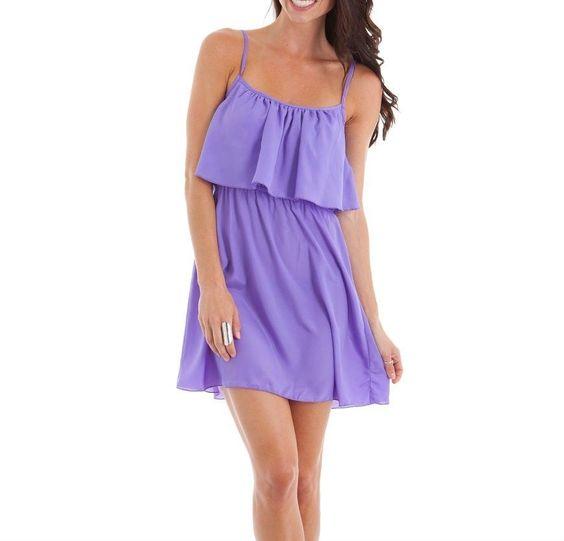 Women's Junior's Tiered Light Casual Spaghetti Strap Dress in Purple #AlliKris #Tiered #Casual