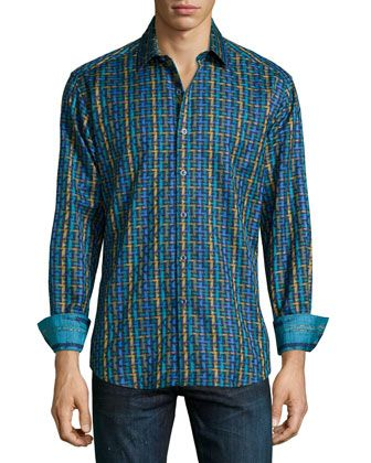 Melrose Multi-Print Sport Shirt, Multi by Robert Graham