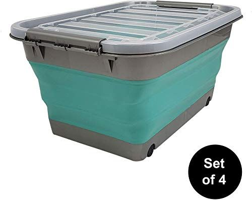 The Perfect Homz Store N Stow Tm 12 Gallon Latching Container With Wheels Grey And Teal In 2020 Plastic Container Storage Collapsible Storage Bins Storage Containers