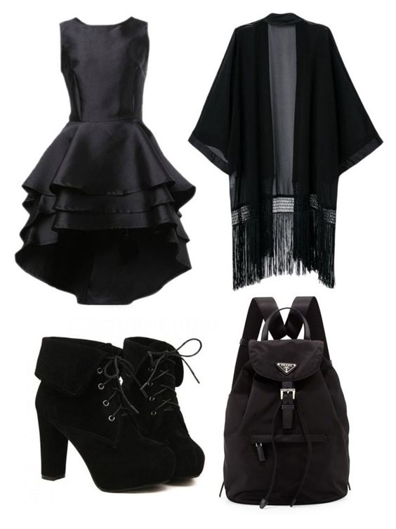 """""""Funeral outfit"""" by melwell1020 ❤ liked on Polyvore featuring TURNOVER and Prada"""