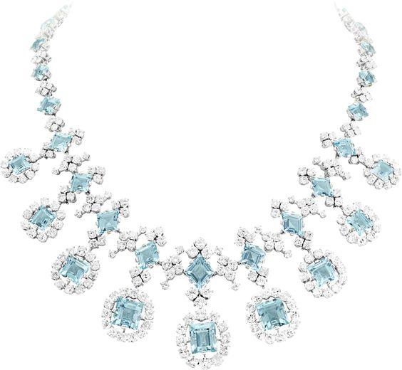 Van Cleef & Arpels Aquamarine and Diamond Necklace, circa 1951.