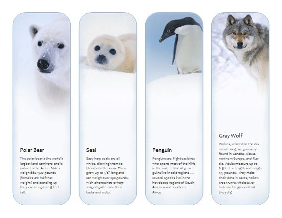 Bookmarks (Antarctic and Arctic animals) Template - Microsoft ...