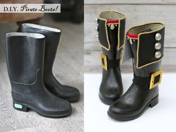 Ideas para convertir unas botas de agua en unas de auténtico pirata!