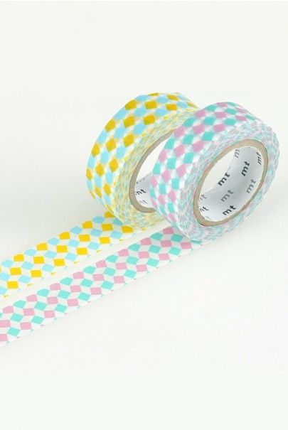 NEW RELEASE WASHI AT NOTEMAKER.COM.AU - MT Japanese Masking Tape - Set of 2 - Yellow Square and Pink Square $8.95