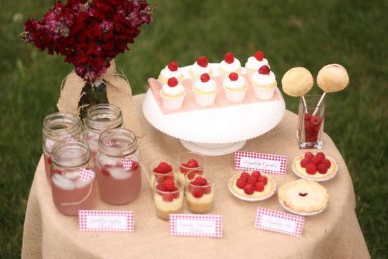 EAT DRINK PRETTY: Rustic raspberry dessert table