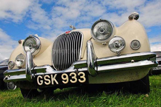 Jaguar classic vintage car front view photograph picture poster print photo art