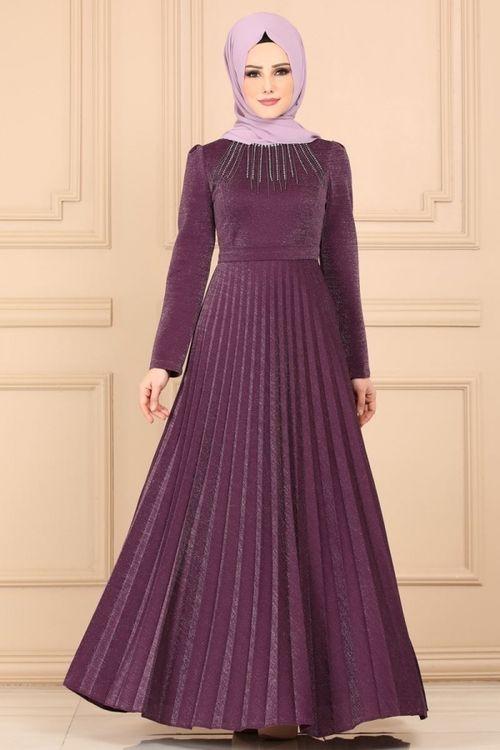 Modaselvim Elbise Tas Kolyeli Piliseli Elbise 637l263 Mor Kiyafet Elbise Elbiseler