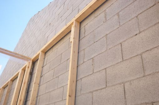 Furring Strips Are Long Thin Pieces Of Wood Nailed To Cinder Blocks In Order To Support A Finished Cinder Block Walls Cinder Block House Concrete Block Walls