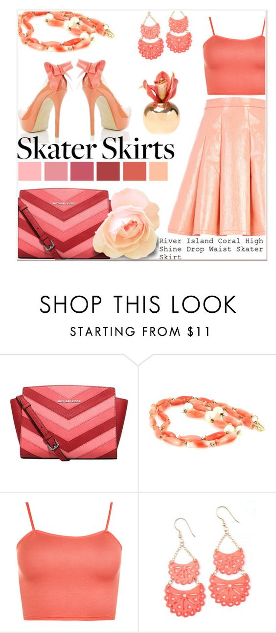 """""""Skater Skirts: Coral and Pink"""" by delucia ❤ liked on Polyvore featuring MICHAEL Michael Kors, River Island, Vintage, WearAll, Dot & Bo, skaterSkirts, skaterskirt, SkaterGirl, skater and pinkandcoral"""