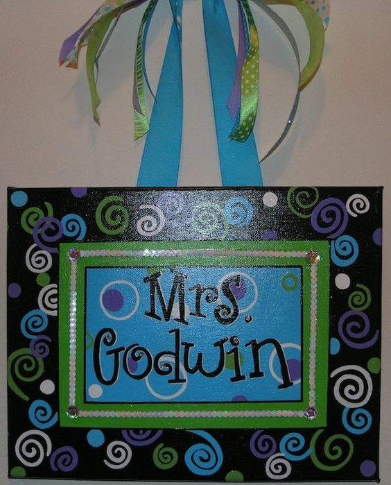 Personalized, Hand Painted Canvas Wall Art (dots and swirls 11x14 example) on Etsy, $35.00