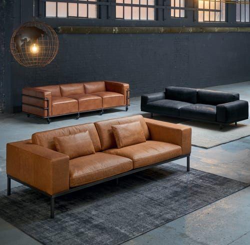 Black Vintage 3 Seater Leather Sofa Maisons Du Monde Leather
