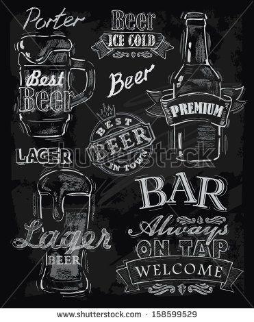 vector chalk beer on chalkboard background by bioraven, via Shutterstock