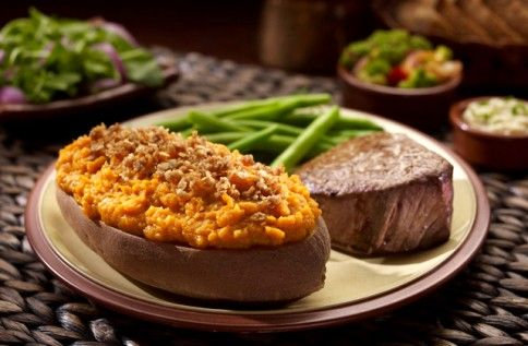 Steak, Green Beans and Twice Baked Sweet Potato with Crumble Topping