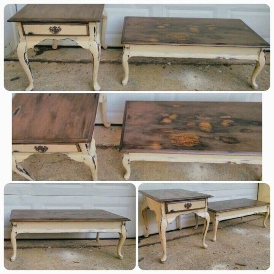 vintage brandt coffee table with stained top. chalk painted in an
