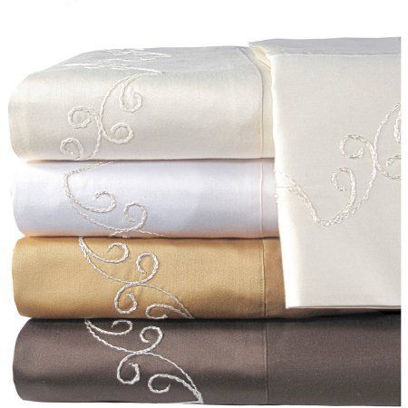Veratex, Inc. Supreme Sateen 800-Thread Count Scroll Bedding Sheet Set, Brown